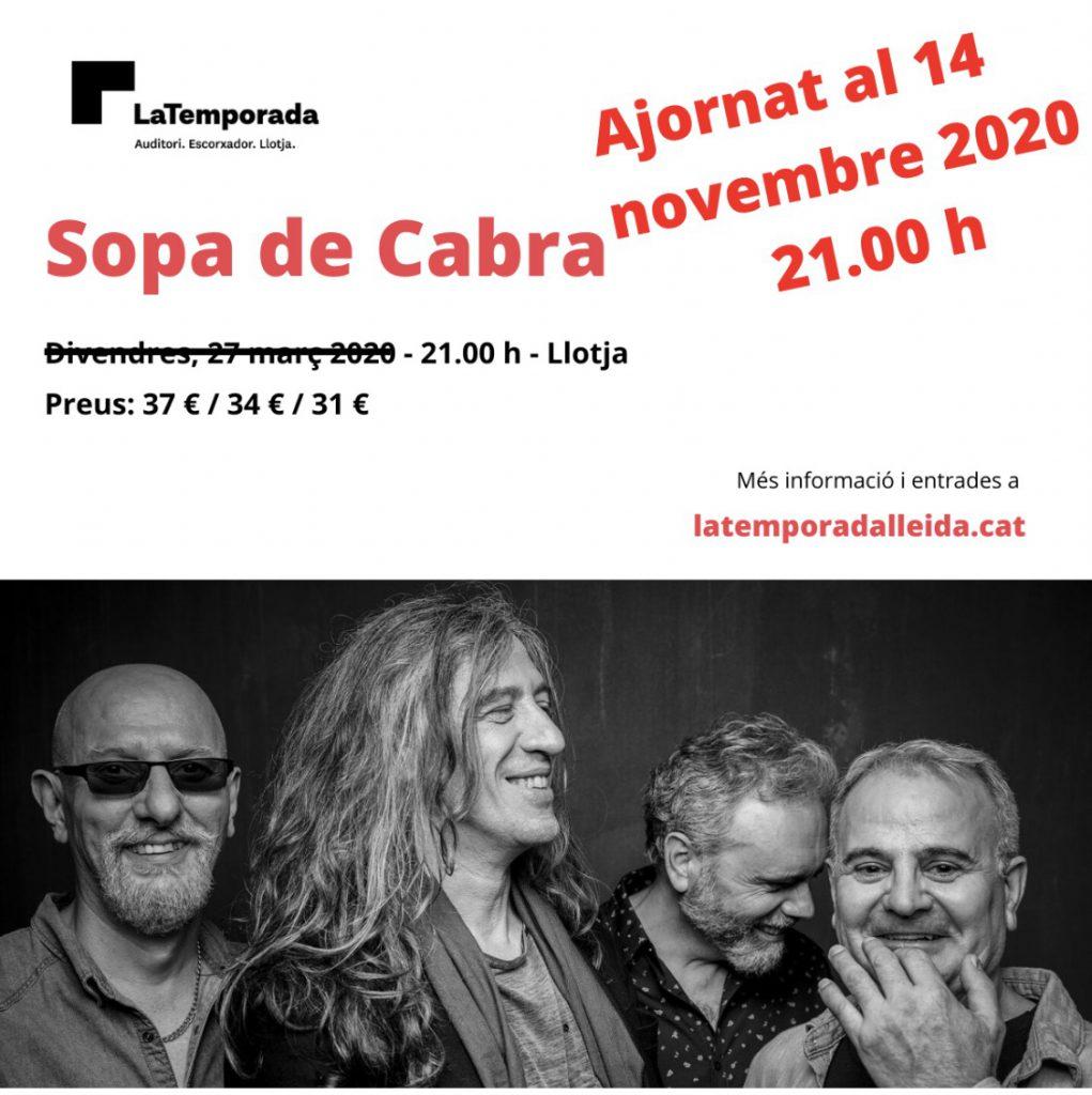 Sopa de Cabra presentarà el seu nou disc el 14 de novembre al Teatre de la Llotja de Lleida