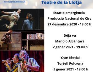 El Teatre de la Llotja acull tres grans espectacles de circ